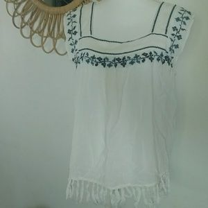 Hippie Laundry Boho Tank with Fringe